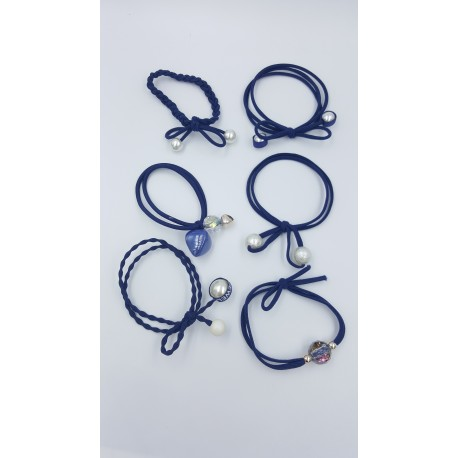 HAIR TIES HAIR HOLDER 6pcs set (NAVY BLUE SERIES) - Cindy Jewellery 800b1a1adfb