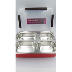4 GRID LUNCH BOX (304 STAINLESS STEEL, BPA FREE)